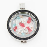 Locket su ordine di memoria con la moneta di vetro & i piccoli elementi all'interno