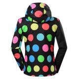 Camisola de esqui para mulheres de moda colorido com capa
