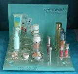 Organizador de acrílico de encargo de Cosmeic, soportes de visualización cosméticos del claro del plexiglás del lucite con la impresión de la insignia, cosmético transparente