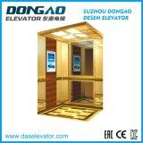Лифт пассажира Smr с роскошным золотистым вытравливанием зеркала нержавеющим