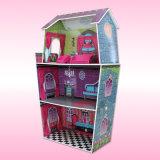 Casa de boneca de madeira educacional para os miúdos (3-8years velho) com mini mobília F0374 ajustado