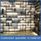 カスタマイズされたハイエンドおよび贅沢なブラウンのステンレス鋼の表示棚の家具