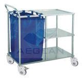 Carretilla de lino inoxidable del lavadero del hospital movible del marco de acero de AG-Ss010A