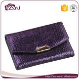 Бумажник пурпуровой крокодиловой кожи неподдельной кожи размера цвета малой роскошный для подруги
