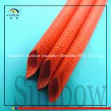 1.2kv Manga de fibra de vidro revestida de silicone com manga de fibra de vidro