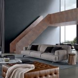 يعيش غرفة أثاث لازم [بروون] [نبّا] جلد أريكة ([ل629-])