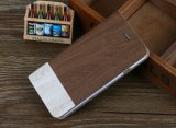 Het nieuwe Geval van de Telefoon van de Tik van het Folio Kickstand van het Geval van de Portefeuille Houten Mobiele