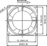 ventilador sem escova da C.C. de 12/24V 80X80X32mm com aprovações