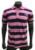 Maglietta a strisce di polo della tintura del filato per gli uomini con lavata sporca