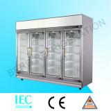 Congelador de supermercado / congelador de porta de vidro, congelador profundo de porta de vidro vertical (-12 ~ -18 ° C)