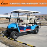 Carro de golf eléctrico de la caza de 6 pasajeros, coche azul del golf del carro del color