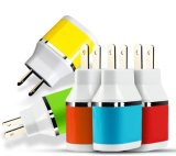 EU Plug Dual USB 5 V 2A Poorten Travel Adapter Car Charger Color para iPhone 5 S 6 6lus