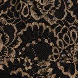Jolie dentelle patchwork d'usure d'or Short Sleeve Leaf cou robe