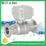 Dn25 12V Electric Actuated Water Flow Control Sanitary Ball Valve Cer