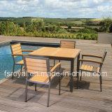 Home Отель Ресторан патио с садом мебель обеденный стол, алюминиевый плетеной пластмассовые деревянные Polywood стул для установки вне помещений