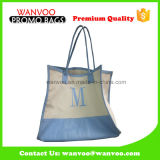 Silkcreen 간단한 프랭클린 축하 격자 화포 면 끈달린 가방