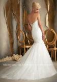Самомоднейшее Embroidary отбортовывая слой плиссируя платье венчания мантии шарика