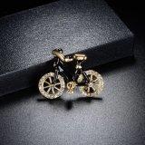 Brooch сплава Rhinestone черного золота Rose Bike кристаллический