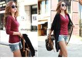 """Do Chemise longo da luva das blusas da V-Garganta das cores do sólido 14 partes superiores coreanas feitas malha magros """"sexy"""" de Femme para as mulheres que vestem a blusa superior da camisa"""