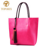 China Custom PU Lona Couro Bag Fashion mulheres mala