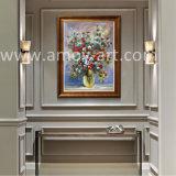 装飾のための重い組織上の赤い花の油絵