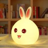 Nouveau lapin dirigé Lumière de Nuit pour les enfants Bébé Enfant lampe de chevet Multicolor capteur tactile de silicone Appuyez sur le contrôle veilleuse