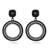 Boucles d'oreille plaquées par noir rond chaud de canon de goutte pour les oreilles de modèle de mode de vente