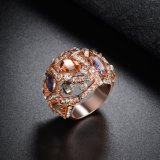 Anillo plateado oro de lujo de la declaración de Rose de la piedra del estilo
