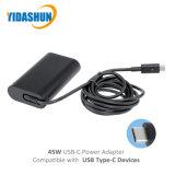 DELL를 위한 45W USB Pd 유형 C 휴대용 퍼스널 컴퓨터 충전기 교류 전원 접합기