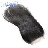 La chiusura brasiliana 4X4 dei capelli diritti della chiusura del merletto dei capelli umani libera la parte