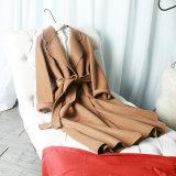 Señoras la moda Manga Raglan de lana con la correa de mediados Chaqueta largo pelaje corto