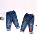 Rainbow Cat azul bordado directamente Baby Girl Jeans