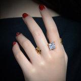 Самое последнее творческое кольцо перста CZ 2 золота ювелирных изделий 18K