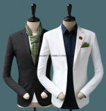 100% de lã de alta qualidade branca, terno de casamento preto