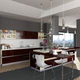 Forma Filipinas Proyecto lineales de madera de chapa del gabinete de cocina (OP15-WV01)