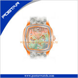 Het nieuwste Horloge Vertiacl van het Roestvrij staal van het Horloge van de Dames van de Hoogste Kwaliteit van het Ontwerp Achter met Diamanten