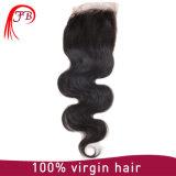 Merletto mongolo 4&times dei capelli del Virgin; Tessuto dei capelli umani dell'onda dei 4 corpi