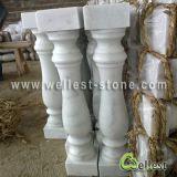 De natuurlijke Witte Marmeren Balustrade/de Baluster van de Steen met Traliewerk en Leuning
