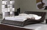 침실 사용 (HC022)를 위해 최신 판매 현대 까만 가죽 침대