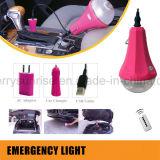 Promocionales luces recargables que acampa solar luz solar bolas de luz con doble cargador de coche