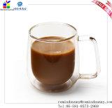 Doppio-Piattaforma libera Glass Tea Milk Cup Coffee Cup con Handle
