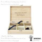 Hongdao ha personalizzato il contenitore di regalo di legno di lusso della visualizzazione dell'imballaggio della vigilanza di marchio con il _E di prezzi all'ingrosso della stagnola
