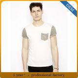 T-shirt de coton de collet d'épuisette de l'été des hommes faits sur commande avec la poche
