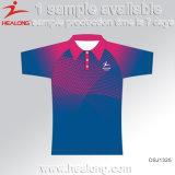 Camisa de polo de la promoción de la sublimación de la ropa de la insignia de la marca de fábrica de Healong para la venta