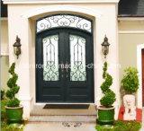 Heißer Verkaufs-volle runde Haustür mit bearbeitetem Eisen