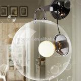 Vetro del metallo della radura della bolla di stile semplice moderno ed indicatore luminoso rotondi della parete della lampada da parete per la camera da letto