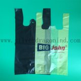 Schwarzer Farbe HDPE Weste-Beutel mit der kundenspezifischen Gestaltungsarbeit gedruckt