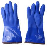 十分にアクリルのライニング青いPVC冬作業手袋