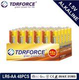 Pile alcaline primaire 1.5volt sec avec ce/ISO 24pcs/boîte de 5 ans Durée de vie (LR6/AM-3/AA)