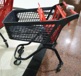Вагонетка покупкы оптового супермаркета пластичная с колесами